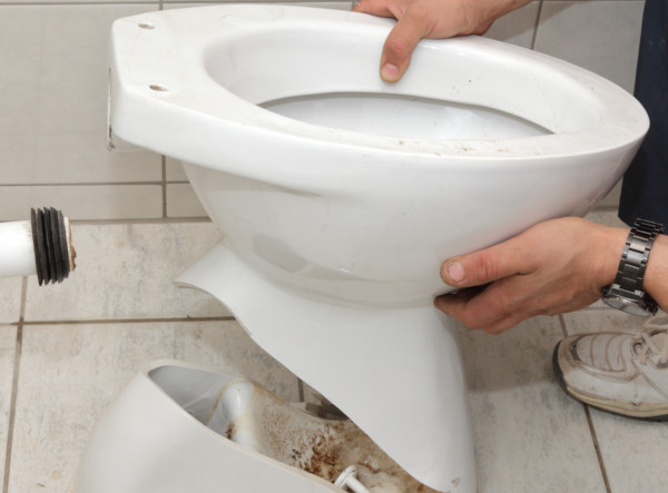 Plumber replacing toilet with cracked bowl